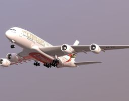 Commercial plane Emirates Airbus A380 3D asset realtime