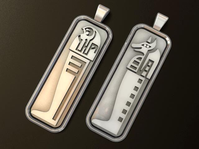 anubis and horus egyptian gods pendant 3d model obj mtl stl 1