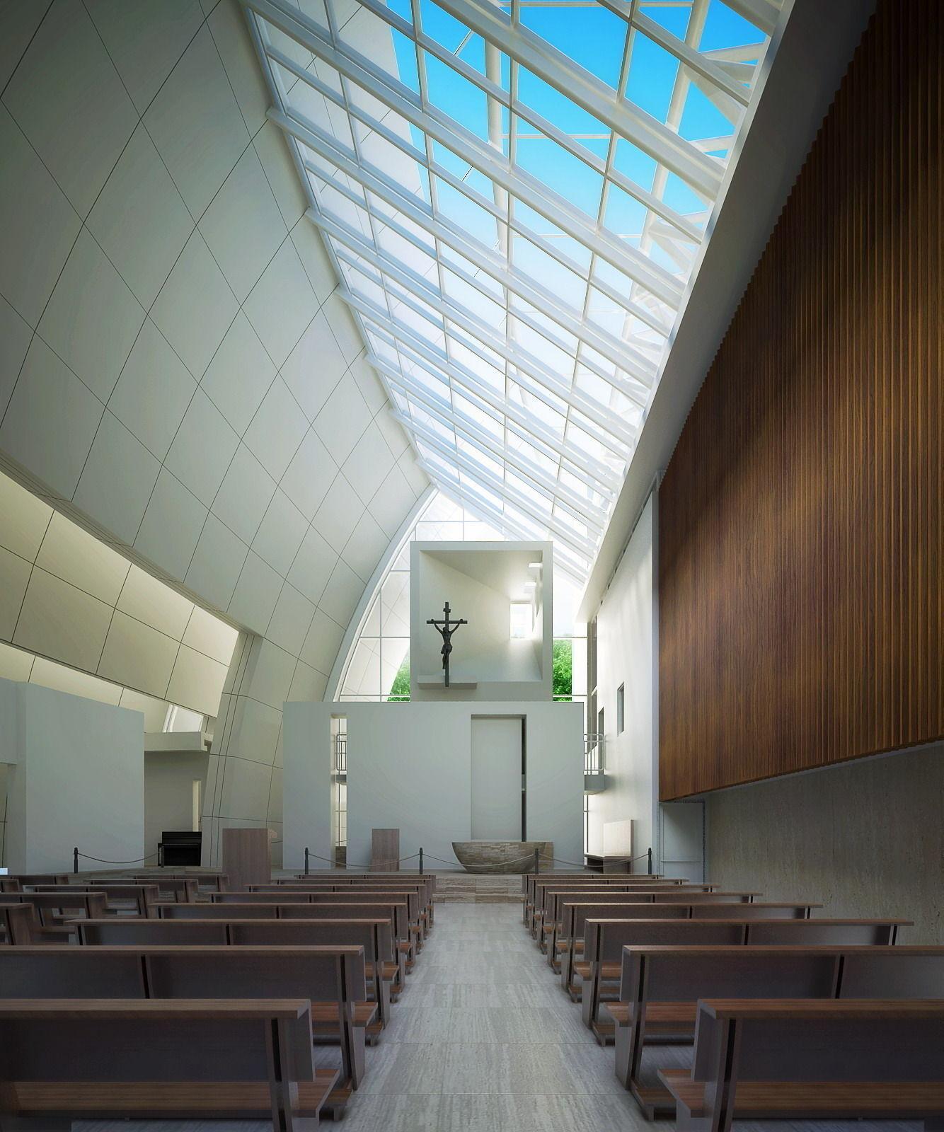 church interior with skylight 3d model max fbx tga 1 ...