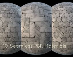 3D model game-ready White marble tiles PBR material pack