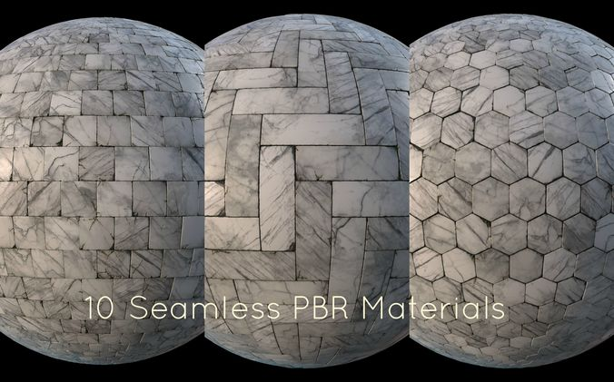 3d Model Game Ready White Marble Tiles Pbr Material Pack