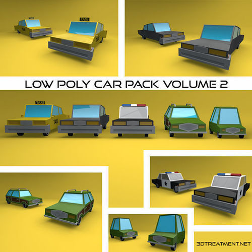 low poly vehicle pack volume 2 3d model low-poly obj mtl 3ds fbx c4d dxf stl 1