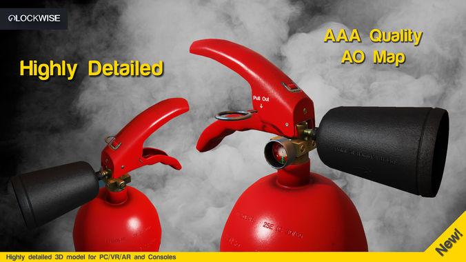 fire extinguisher -game ready 3d model obj mtl fbx 1