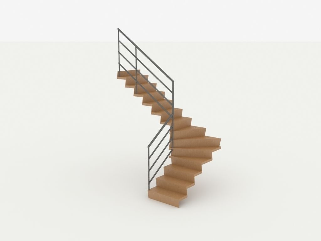 Wooden Twisted Stairs Free 3d Model Max