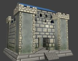 Low poly simple fort 3D model