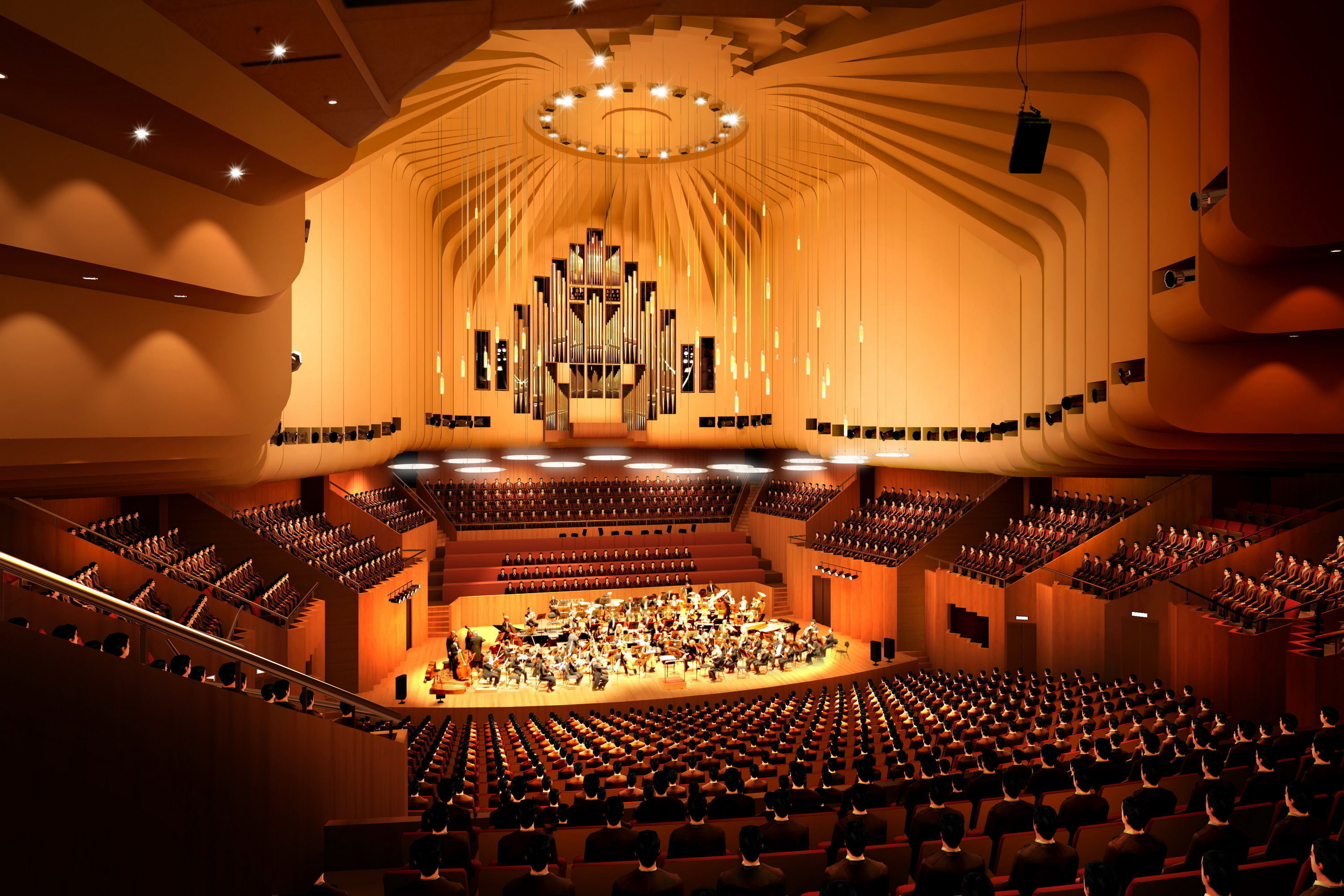 Elegant orchestra theater 3d model max 3ds for Orchestra house