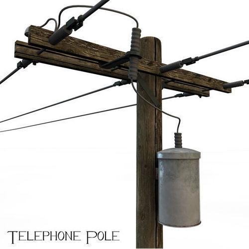 telephone pole 3d model obj mtl 3ds c4d 1