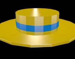 3D model Low poly straw hat