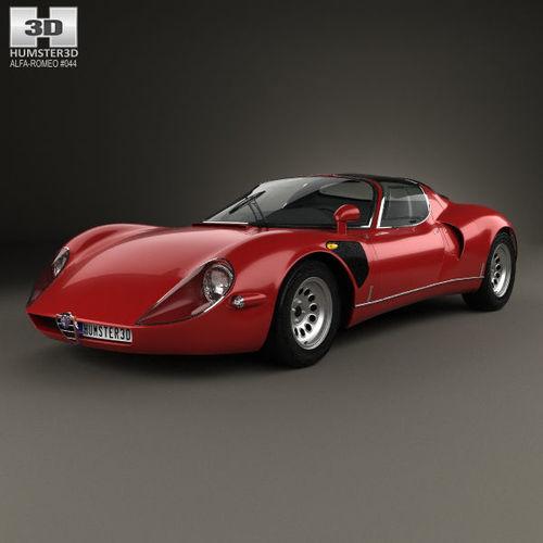 alfa romeo 33 stradale 1967 3d model max obj mtl 3ds fbx c4d lwo lw lws 1