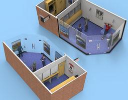 3D Modern Bank for Poser and obj