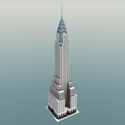 Chrysler building new york 3d model game ready max obj for Model house nyc