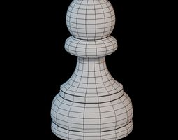 3D asset game-ready Wooden chess piece - Pawn