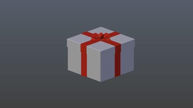 low poly gift 3d model low-poly obj mtl 3ds fbx blend x3d ply 1