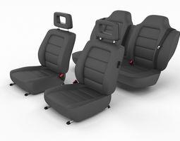 3D Generic Black Leather Car Seats