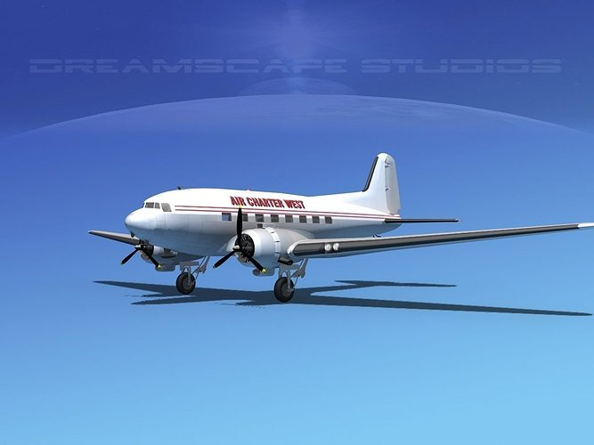 Douglas DC3 Air Charter 3D Model Rigged MAX OBJ 3DS LWO LW LWS DXF STL