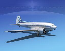 Douglas DC-3 Air France 3D Model