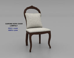 3D asset Carving Sofa Chair- Lowpoly