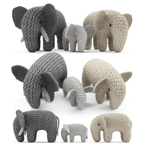 knitted elephants toys 3d model max obj mtl fbx unitypackage prefab 1