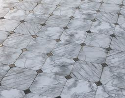 3D asset Aged marble tiles PBR Material