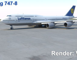 Boeing 747-8 3D model animated