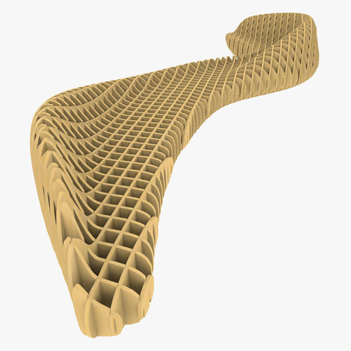 parametric bench with ribs structure 3d model 3ds fbx c4d 1