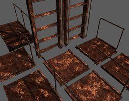 Rust Ladder Bridge Platform Set 3D asset