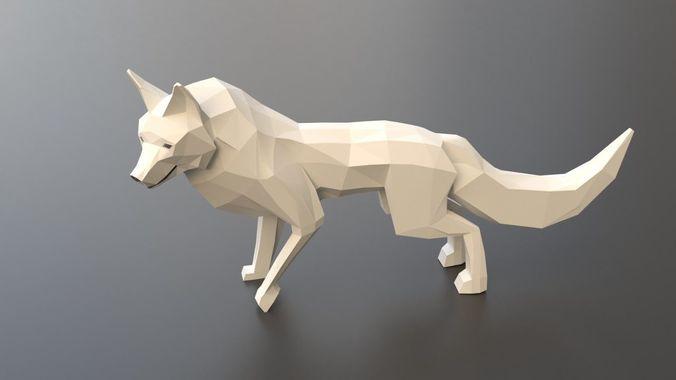 low poly arctic fox 3d model rigged obj mtl fbx blend 1