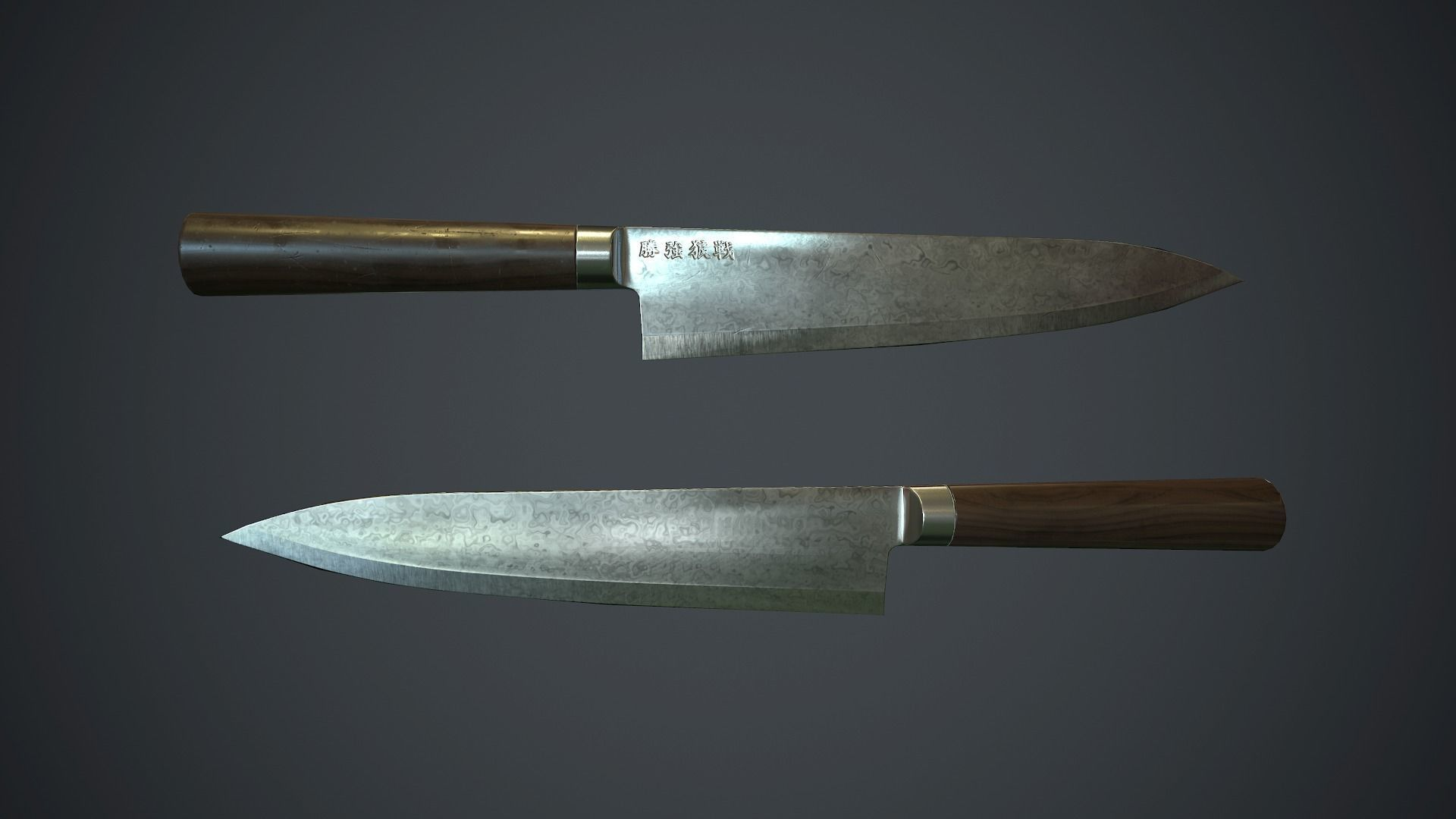 Damascus Kitchen Knife PBR Game Ready