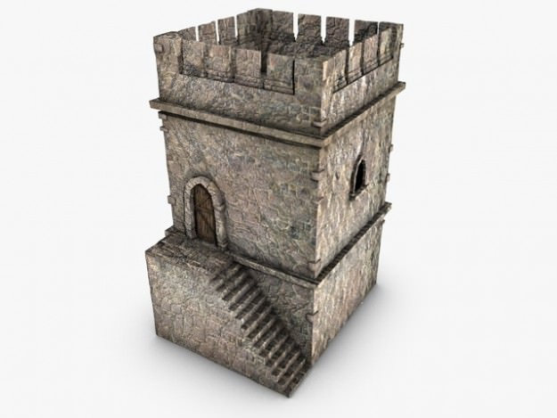 Crenelated Castle Tower3D model