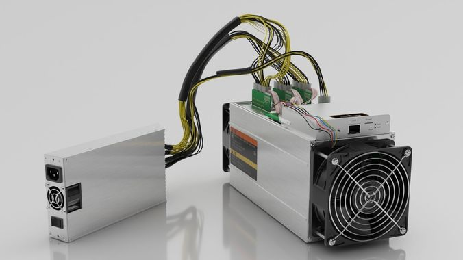 antminer cryptocurrency mining hardware and power supply 3d model max obj fbx c4d 1