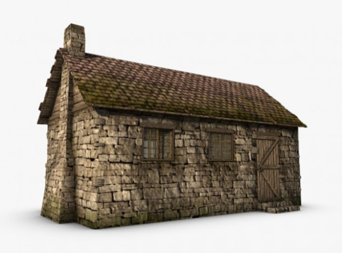 Old stone cottage 3d model max obj 3ds fbx c4d Build house online 3d free