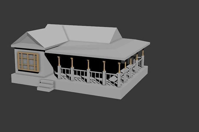 Simple House 3d Model Fbx 4