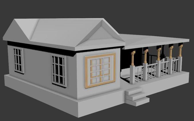 Simple house 3d model fbx for Minimalist house 3d max