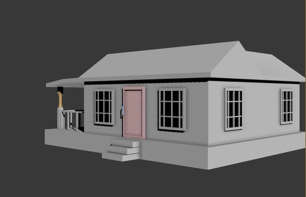 Simple house 3d model fbx for Minimalist house 3d