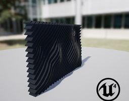 3D asset Waving Wall Panel C