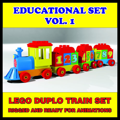 lego duplo train high quality 3d 3d model low-poly rigged animated max obj mtl 3ds fbx 1