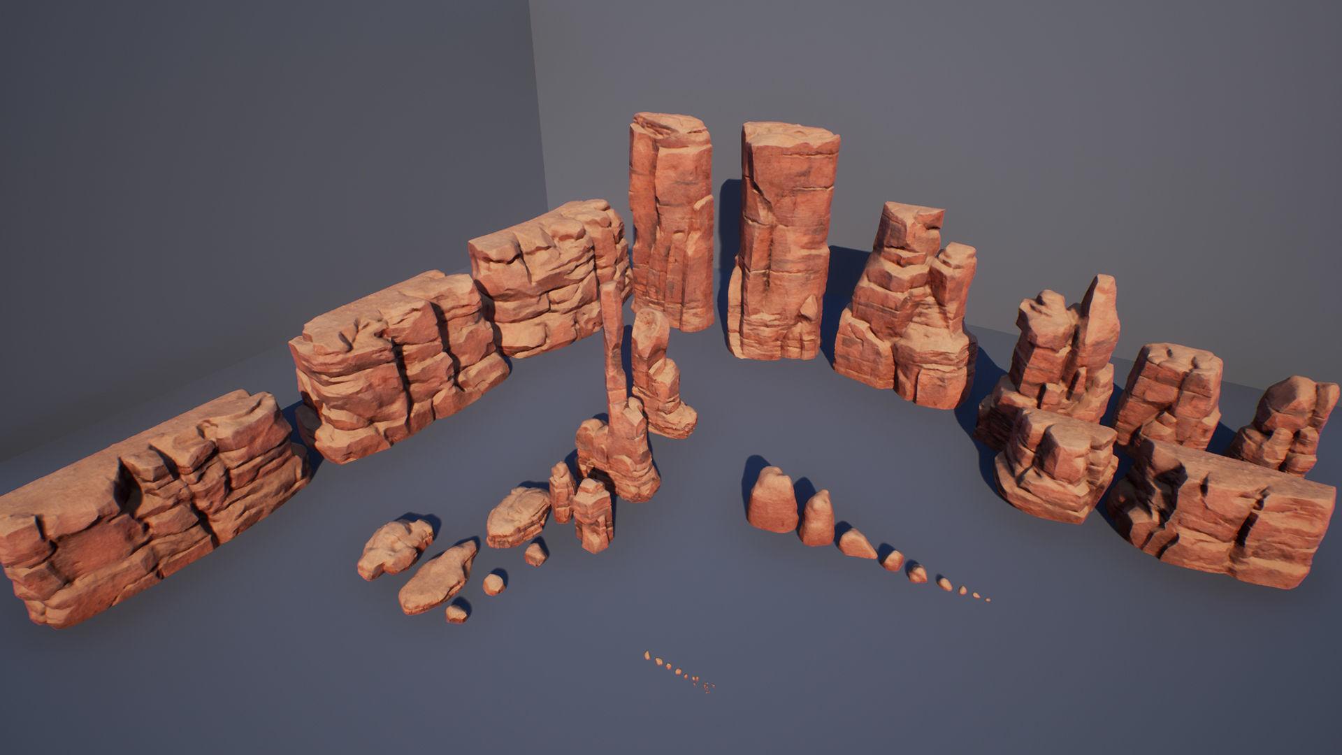 Cliff rock stone set