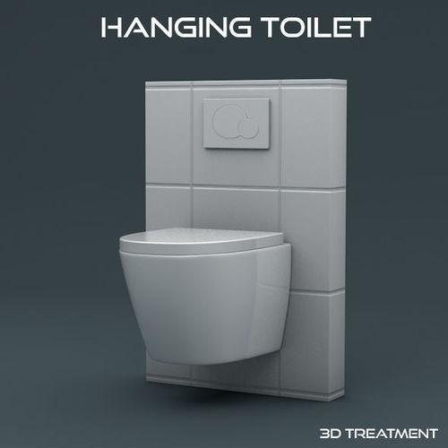hanging toilet 3d model low-poly obj mtl 3ds fbx c4d stl 1