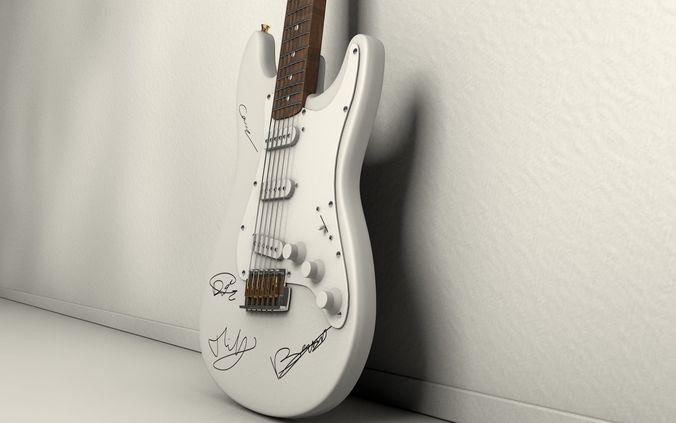autographed guitar 3d model low-poly obj mtl c4d 1