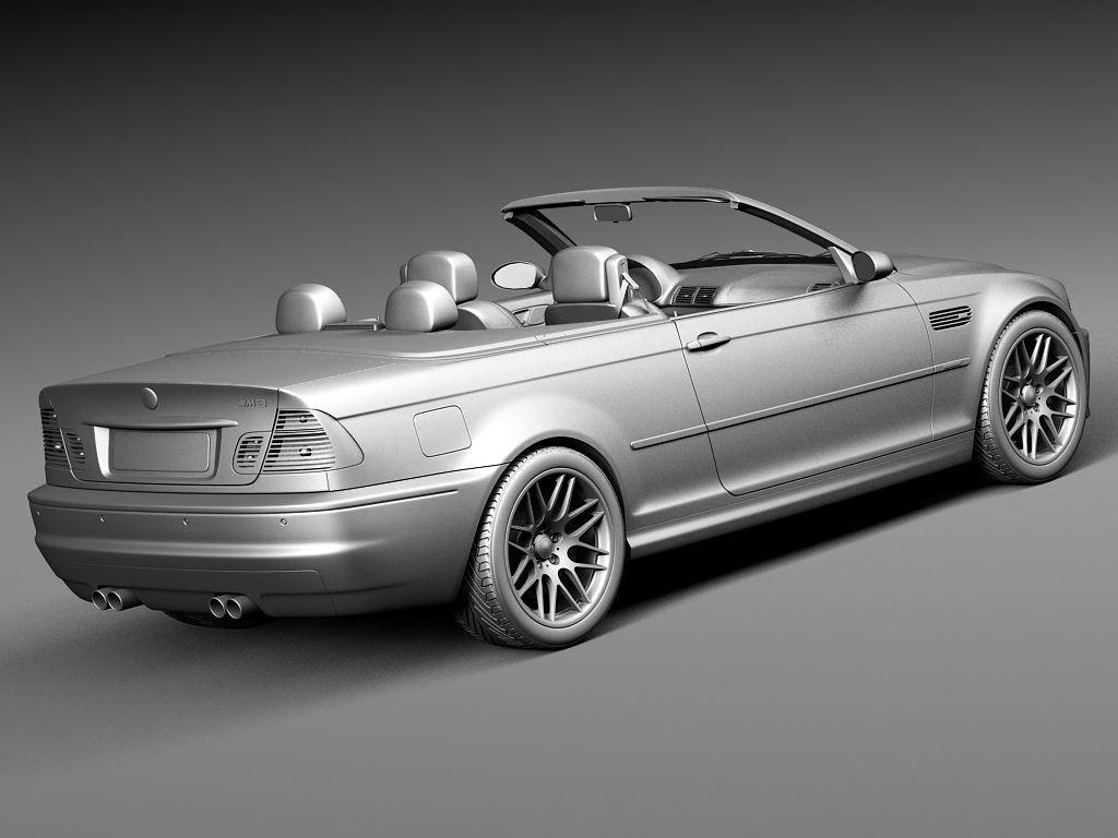 bmw m3 e46 convertible 2000 2004 3d model max obj 3ds fbx. Black Bedroom Furniture Sets. Home Design Ideas