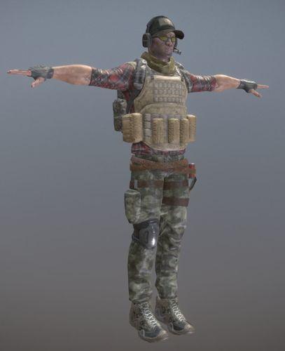rigged mercenary a 3d model low-poly rigged fbx 1