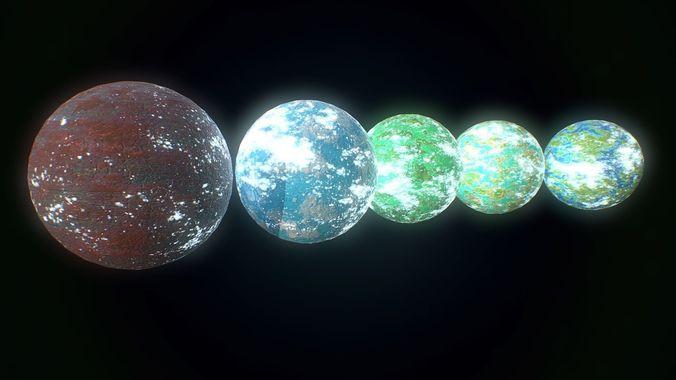 low poly sci fi exo planets assets 3d model low-poly obj mtl fbx 1