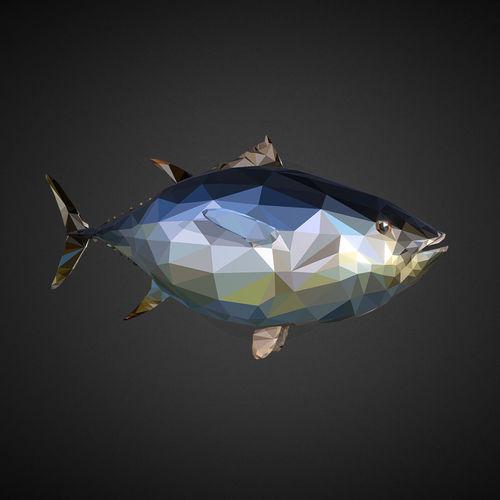 tuna low polygon art ocean fish 3d model max obj mtl 3ds fbx ma mb tga 1