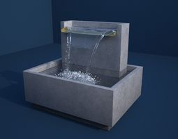 Clear Water V Drape Concrete Fountain 3D model