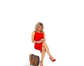 3D model Woman with Red Dress Looking at Phone