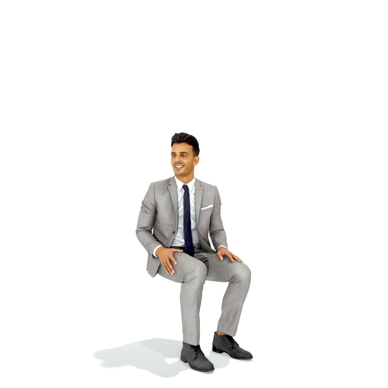 Sitting Business Man with Grey Suit BMan0314-HD2-O04P01-S