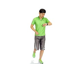 Sporty Running Man in a Hurry SMan0313-HD2-O02P02-S 3D