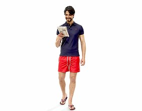 3D model Man with Red Shorts Reading Magazine