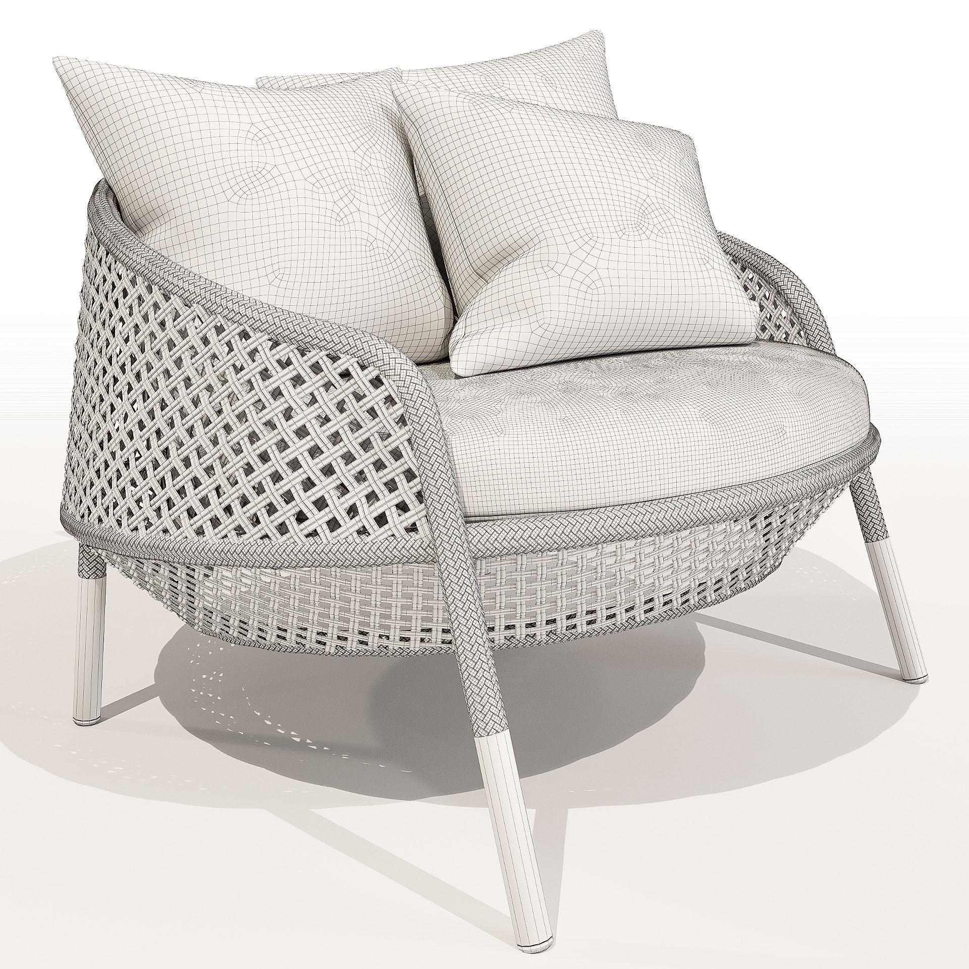 ... Dedon Ahnda Lounge Chair 3d Model Max Obj Mtl 3ds 3