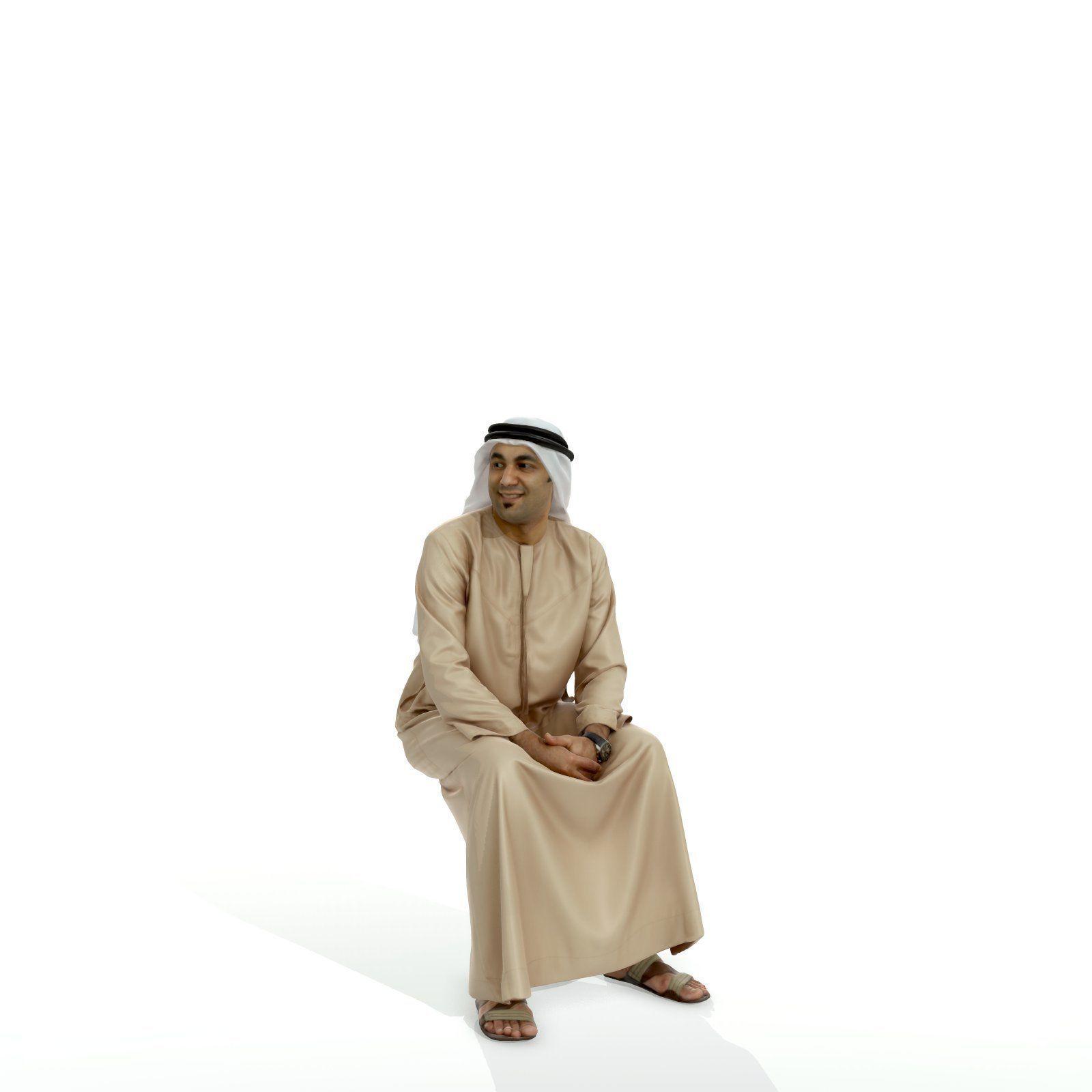 Sitting Arabic Man Wearing Thawb ArMan0005-HD2-O01P05-S